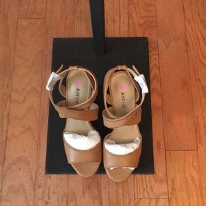 JUST FAB Tan Wedges with decorations on wedges